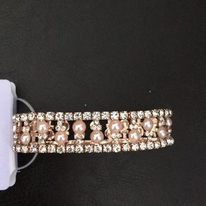 New Badgley Mischka Rose Gold Pave Crystals Pearls